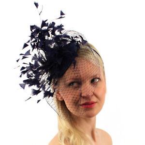 Flirty Feathers Netted Veil Fascinators Headband Cocktail Derby Church Hat