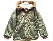 Superdry Womens SD-3 Parka Coat Olive Green SIZE LARGE UK 14