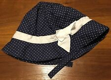 Janie And Jack Layette Baby Girls Blue With White Polka Dots Bow Hat 12-18 Month