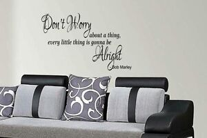Bob Marley quote wall art sticker Don't worry about a little thing, home lounge