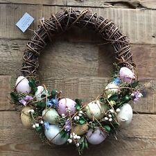 Flower & Egg Swag Wreath Easter Decoration Gisela Graham Twig Wicker Country