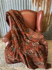 Antique Red Russet Velvet Throw Tablecloth Bedspread Persian Dutch Rug Seance