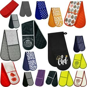 Double Single Oven Glove 100% Cotton Insulated Kitchen Mitts Pot Holder Gift UK