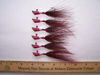 BUCKTAIL JIGS, PURE TIN, LEAD FREE   1/4 oz., 6 , 1/0 , RED WINE
