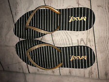 Reef Black Striped Flip Flops Size 10 Slip on Thong Casual Sandals