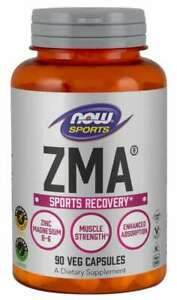 NOW Foods ZMA 90 Caps Zinc Magnesium Vitamin B6 Muscle Recovery & Sleep 01/24EX