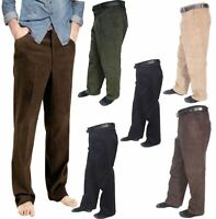 Gents Plain Corduroy Cord Casual Pants With Belt Mens Cotton Formal Trouser