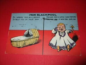 1912 COMIC postcard present from BLACKPOOL crying baby RATTLE CRIB