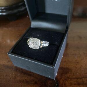 Effy Pave Diamond Ring Sterling Silver 18k Gold Size 7