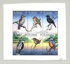 St Vincent #2420 Birds, Woodpecker 1v M/S of 6 Imperf Chromalin Proof