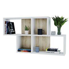 Mensola libreria da muro parete con 4 scompartimenti vani a giorno bianco
