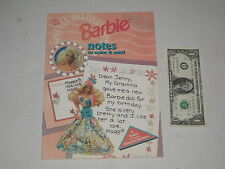 1992 BARBIE SPECIAL DELIVERY NOTES TO COLOR & SEND Complete & Un-Used w Stickers
