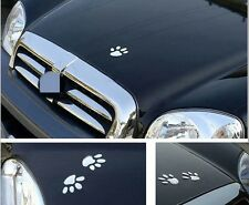 2X 3D Silver Funny Bear Dog Paw Pet Animal Footprint Emblem Cartoon Car Stickers