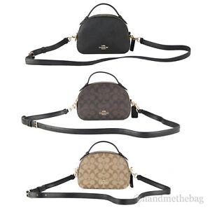 Coach Serena Signature Coated Canvas Leather Satchel Bag Crossbody Handbag Purse