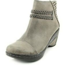JBU BY JAMBU Gray BRAID DETAILED MEMORY FOAM SIDE ZIP ANKLE BOOTS*8*