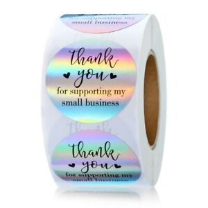 Stickers - 50pcs SILVER THANK YOU for supporting business - LARGE SIZE - 3.8cm