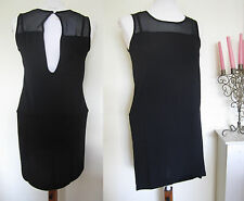 LADIES LITTLE BLACK DRESS SIZE 8 CUT OUT BACK SEE THROUGH NECK SMART SHIFT WORK