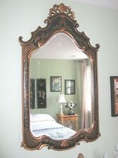CHiNOISERIE DESIGN LARGE HAND PAINTED LEATHER COVERED BEVELED MIRROR