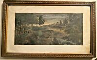 Antique 1915 Signed Watercolor Painting Landscape Beautiful