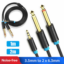 """1/8"""" 3.5mm to Dual 6.35mm 1/4"""" Mono Jack Stereo Y-Splitter Headphone Audio Cable"""