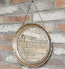 Gold Distressed Wall Hanging Chain Mirror Round Porthole Metal