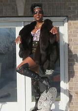 New Fab Desginer custom dark brown fox tails Fur Vest Sleeveless coat S-M 0-8