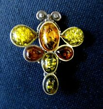 BUTTERFLY BROOCH PIN AMBER Costume Jewelry Vintage