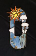 Hand Made Stained Glass Art Frame w Sun, Clouds