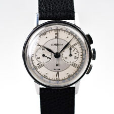 Lemania 27CH 35mm Silver Two Tone Manual Winding 1940s Roman Stainless Steel