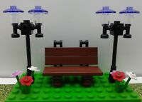 Lego City Town Village Street Park Lights Flowers Garden Bench CUSTOM