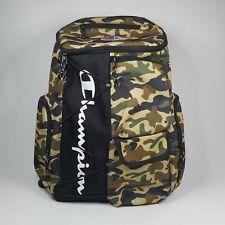 Champion Camouflage Backpack Bag - 6x Pockets + Laptop Sleeve Zip Green & Black
