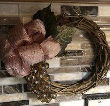 New Hand Made Kitchen Wreath • Room Decor • Ribbon • Grape Vine • Wreath • Fruit