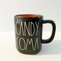 "Rae Dunn Halloween ""CANDY COMA"" Black Coffee Mug With Orange Inside LL NEW 2020!"
