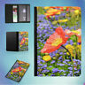 RED PETALED FLOWER 3 FLIP PASSPORT COVER WALLET ORGANIZER