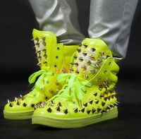 Hot Mens Spike Rivet Boot Studs Boys Punk Athletic Dance Sneakers High-Top Shoes