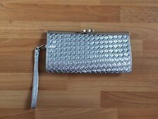 Stunning Ladies Silver New Look Weave Pattern Clutch Bag - Wrist Strap Attached