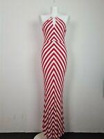 FOREVER NEW Red & White Striped Long Maxi Dress Women's Size 10 V-Neck Beach