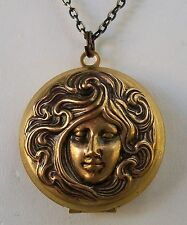 - Maiden - Vtg Photo Locket Necklace Art Nouveau Goddess Medallion Lady - Girl