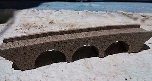 MODEL RAILROAD LARGE THREE ARCH STONE BRIDGE N GAUGE N SCALE   LASER ENGRAVED