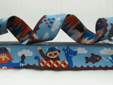 "One Metre Blue Vikings Jacquard Ribbon Trim  5/8"" 16mm 100% Polyester"