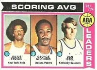 Julius Erving McGinnis Issel 1974-75 Topps NBA Basketball Card #207 Scoring Avg