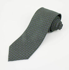 New BATTISTI NAPOLI Green Medallion Pattern Silk Neck Tie $225