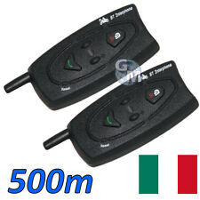 COPPIA 2 INTERFONO INTERFONI BLUETOOTH BT MOTO CASCO AURICOLARE MP3 500 METRI