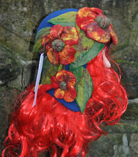 FELT HANDMADE HAND FELTED ECO WOOL MERINO Cloche Hat Flapper POPPIES NAVY RED