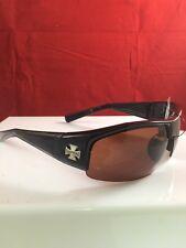 Chopper Riding Biker Sports Motorcycle Sunglasses -black w / brown lens
