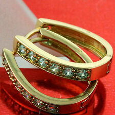 EARRINGS HOOPS HUGGIE REAL 18K ROSE G/F GOLD DIAMOND SIMULATED DESIGN FS3AN638