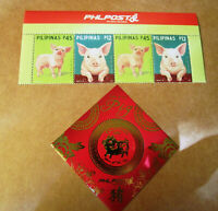 2019 PHILIPPINES Chinese New Year of the Pig 4 value stamps + souvenir sheet mnh