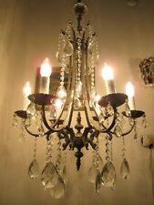 Antique Vnt French 6 Arms Brass Crystal Chandelier Lamp 1940's 20in Ø diametr --