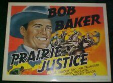 """Copy 1938 Bob Baker """"Prairie Justice"""" Lobby Card Movie Poster"""