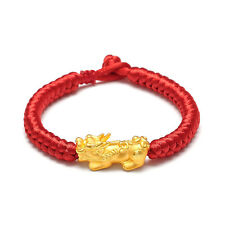 Pure 24K Yellow Gold 3D Pixiu Bead Red Knitted Bracelet 16cm Length